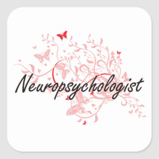 Neuropsychologist Artistic Job Design with Butterf Square Sticker