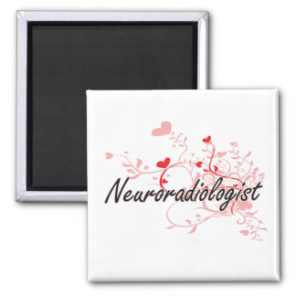 Neuroradiologist Artistic Job Design with Hearts 2 Inch Square Magnet