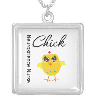 Neuroscience Nurse Chick v1 Square Pendant Necklace