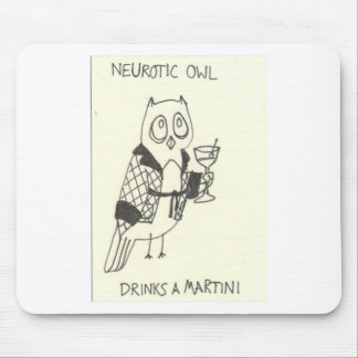 Neurotic Owl Drinks a Martini Mouse Pad