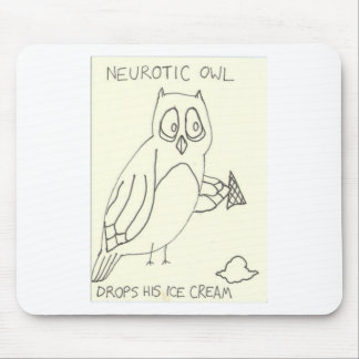 Neurotic Owl Drops his Ice Cream Mouse Pad