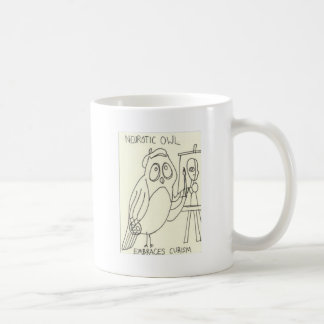Neurotic Owl Embraces Cubism Coffee Mug