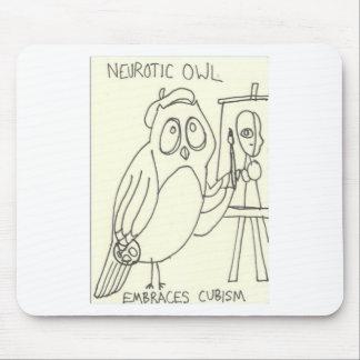 Neurotic Owl Embraces Cubism Mouse Pad
