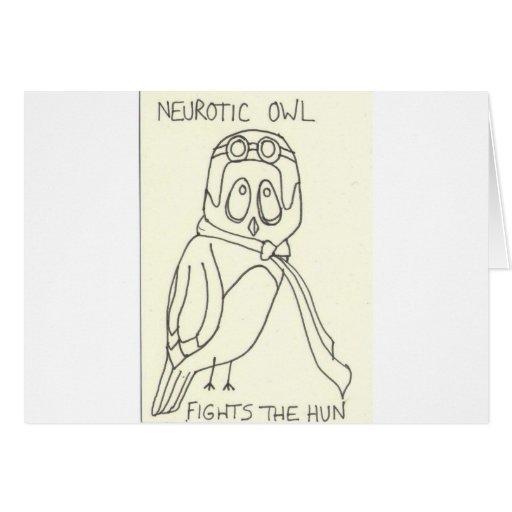 Neurotic Owl Fights the Hun Greeting Card