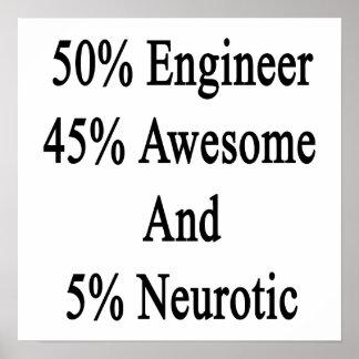 Neurótico 45 impresionante y 5 ingeniero de 50 póster