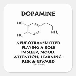 Neurotransmisor de la dopamina (molécula química) pegatina cuadrada