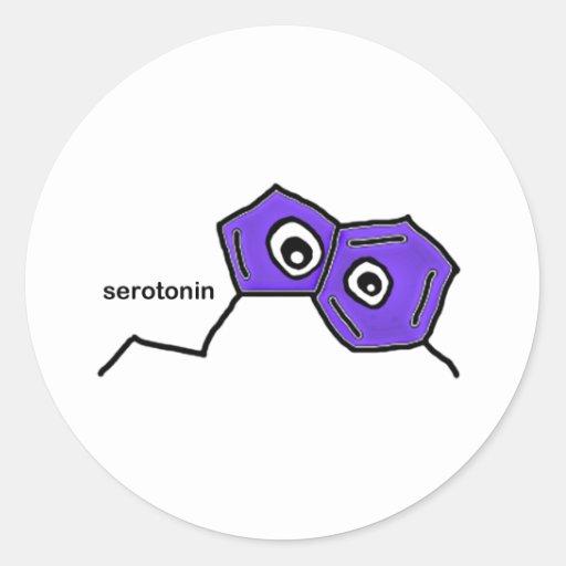 Neurotransmisor de la serotonina etiqueta redonda