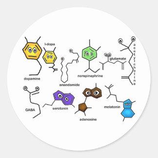 Neurotransmisores desiguales pegatina redonda