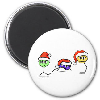 Neurotransmitters in Santa Hats 2 Inch Round Magnet