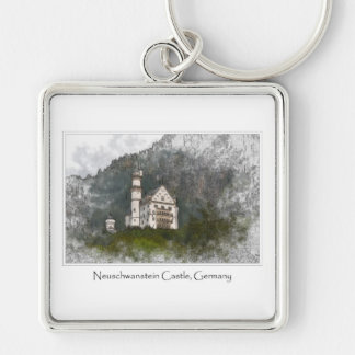 Neuschwanstein Castle Bavaria Germany Silver-Colored Square Keychain