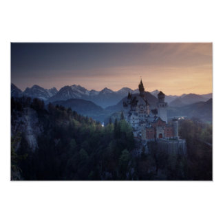 Neuschwanstein Castle, built late 1800's by Poster