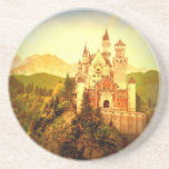 "Neuschwanstein Castle Drink Coaster<br><div class=""desc"">Stylized digital image taken from antique image of Neuschwantstein Castle in Bavaria (Germany)</div>"