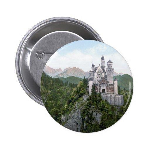 Neuschwanstein Castle Lithograph 2 Inch Round Button