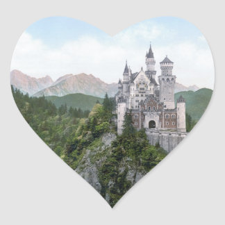 Neuschwanstein Castle Lithograph Heart Sticker