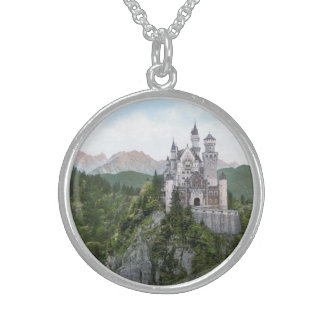 Neuschwanstein Castle Lithograph Sterling Silver Necklaces