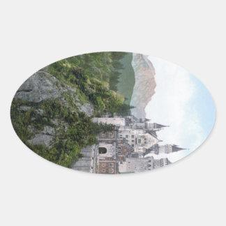 Neuschwanstein Castle Lithograph Oval Sticker