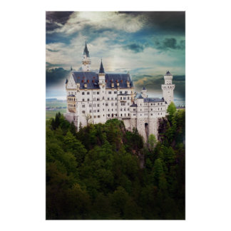 Neuschwanstein Castle, Stormy Sky Poster