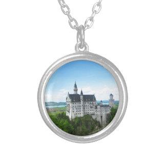 Neuschwanstein panorama round pendant necklace