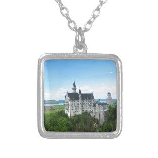 Neuschwanstein panorama square pendant necklace