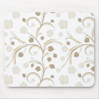 Neutral Abstract Floral Mousepad