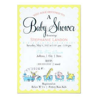 Neutral Animal Train | Retro Baby Shower 5x7 Paper Invitation Card
