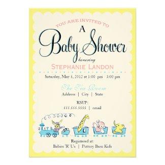 Neutral Animal Train | Retro Baby Shower Invite