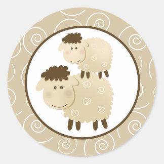Neutral Baa Baa Sheep Envelope Seals / Toppers 20