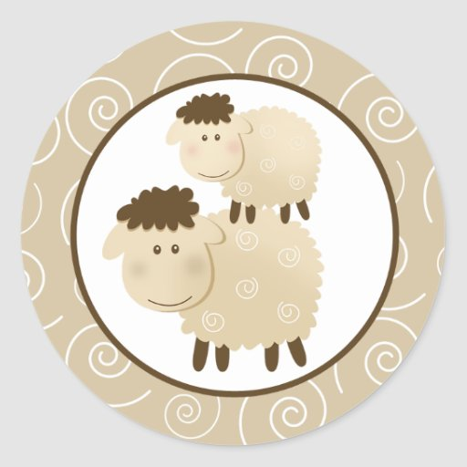 Neutral Baa Baa Sheep Envelope Seals / Toppers 20