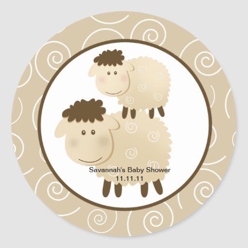 Neutral Baa Baa Sheep Favor Stickers 3-inch