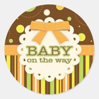 Neutral Baby Orange & Green in Stitches Baby Bow Sticker