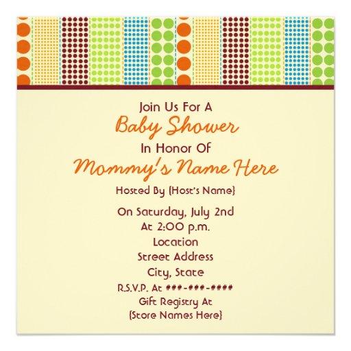 Neutral Baby Shower: Boho Dots Stuffed Bear Personalized Invites