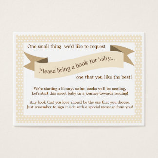 Neutral Baby Shower Book Insert Request Card