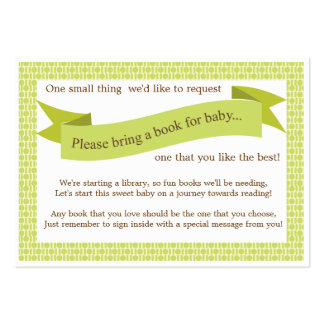 Neutral Baby Shower Book Insert Request Card Green Large Business Cards (Pack Of 100)