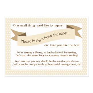 Neutral Baby Shower Book Insert Request Card Large Business Cards (Pack Of 100)