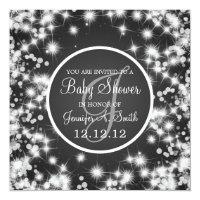 Neutral Baby Shower Elegant Winter Sparkle Black Card