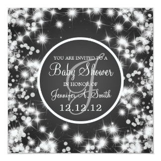 Neutral Baby Shower Elegant Winter Sparkle Black Invitation