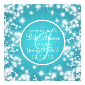 Neutral Baby Shower Elegant Winter Sparkle Blue Personalized Invites