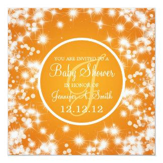 Neutral Baby Shower Elegant Winter Sparkle Orange Card