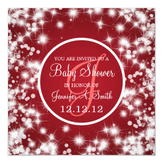 Neutral Baby Shower Elegant Winter Sparkle Red Personalized Announcement
