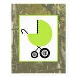 Neutral Baby Shower - Green Carriage & Camouflage Personalized Invitation