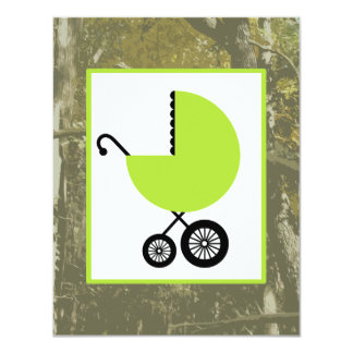 Neutral Baby Shower - Green Carriage & Camouflage 4.25x5.5 Paper Invitation Card