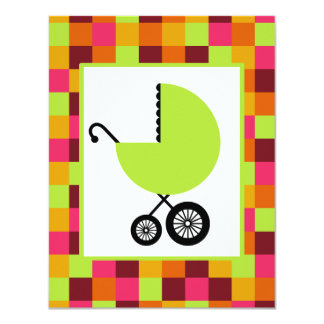 Neutral Baby Shower - Green Carriage & Color Block 4.25x5.5 Paper Invitation Card