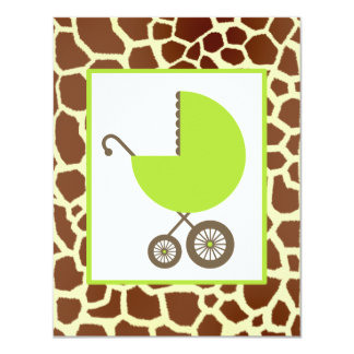 Neutral Baby Shower Green Carriage & Giraffe Print 4.25x5.5 Paper Invitation Card
