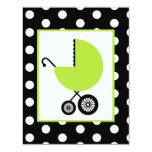 Neutral Baby Shower - Green Carriage & Polka Dots 4.25x5.5 Paper Invitation Card