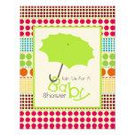 Neutral Baby Shower - Green Umbrella & Boho Dots Invites