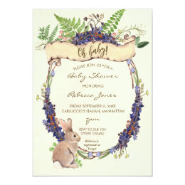 neutral baby shower invitation forest rabbit bunny
