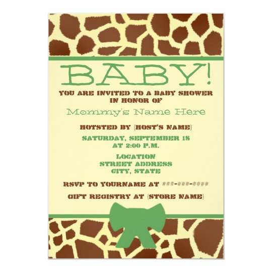 Neutral Baby Shower Invite - Giraffe Print & Green