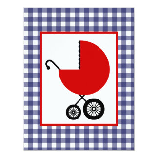 Neutral Baby Shower - Red Carriage & Blue Gingham Card