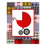 Neutral Baby Shower - Red Carriage & Plaid Custom Announcements