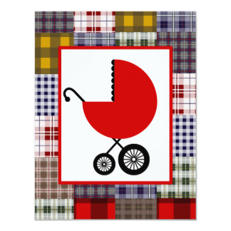 Neutral Baby Shower - Red Carriage & Plaid 4.25x5.5 Paper Invitation Card